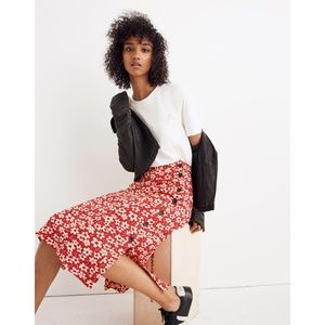 Madewell Side-Button Skirt in Floral Full Bloom 0